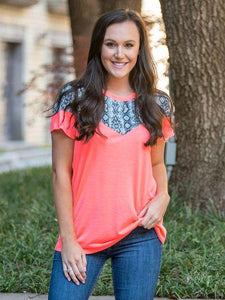 Eyes on Me Neon Coral Top with Snakeskin Accents