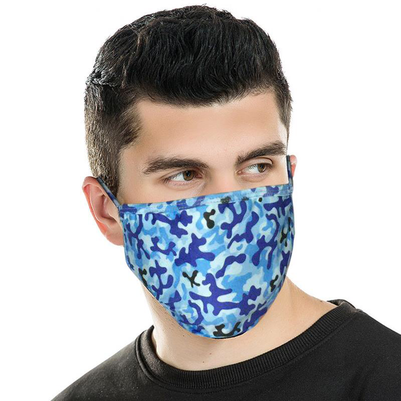 Face Mask - Blue Camo Print Fabric Face Mask Double Layer