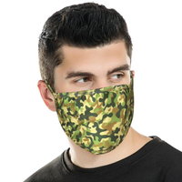 Face Mask - Green Camo Print Fabric Face Mask Double Layer