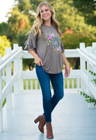 Faith Over Fear on Mocha Loose-Fit Blouse with Ruffle Sleeves