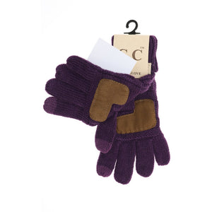 KIDS Solid Cable Knit CC Gloves - Black