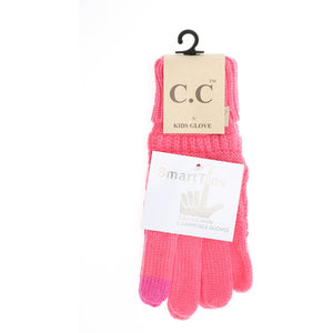 KIDS Solid Cable Knit CC Gloves - Candy Pink