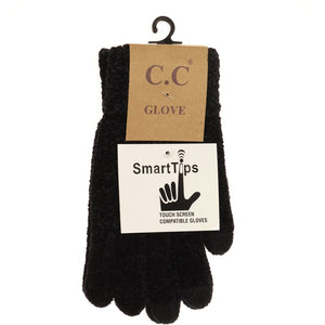 Chenille Gloves - Black