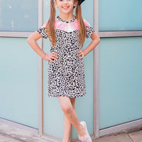 Girls' It Takes Two Dalmatian Print T-Shirt Dress with Pockets & Tie-Dye Accent