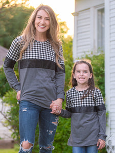Girls' Stacked in Style Long Sleeve Top, White Gingham and Sequins