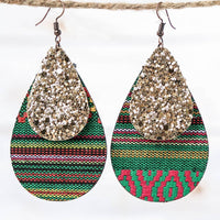 Green Serape Teardrop Earrings with Gold Glitter Accent, Copper