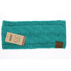 Solid Cable Knit CC Head Wrap - Seagreen