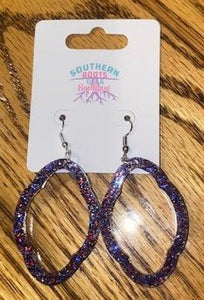 Red White & Blue Sparkly Scallop Hoop Earrings