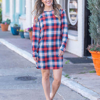 Just My Type Red & Blue Plaid Print Dress