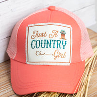 Just a Country Girl Patch on Solid High Ponytail Hat with Mesh, Coral