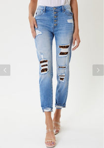 High Rise Leopard Patch Classic Skinny