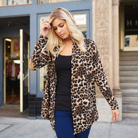 Leopard Print Knit Cardigan with Elbow Patches