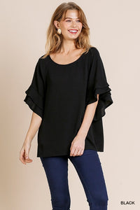 Layered Ruffle Sleeve and Round Neck Top - Black