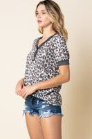 Leopard Print V-neck Button Detail Top with Short Puff Sleeves