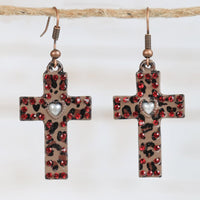 Leopard Cross Earrings with Red Accents