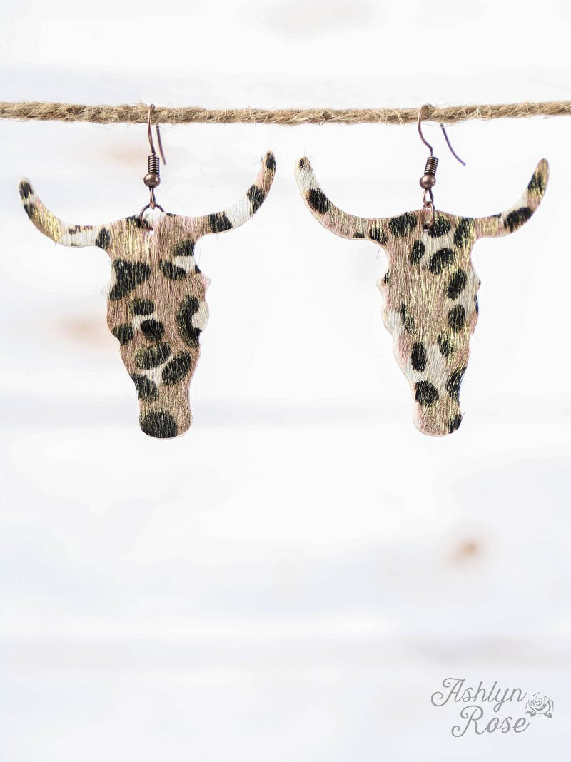 Leopard Print Bull Skull Earrings with Gold Shimmer, Copper