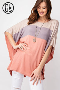 Loose Fit Round Neck Bat Wing 3/4 Sleeve - Taupe/Latte/Apricot