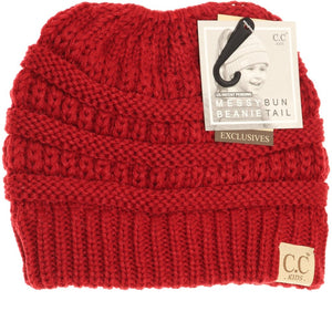 Kids Solid Classic CC Beanie Tail - Red