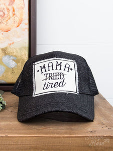 Mama Tired Patch on Black Glitter High-Ponytail Hat