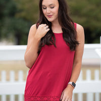 Over the Moon Tank with Detailed Lace Trim - Red