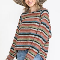 Multi Color Stripe Round Neck Puff Sleeve Top