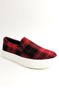 Slip-On Red Urban Plaid Shoes