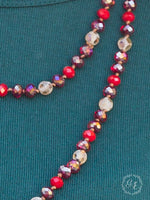 Red Multi Beaded Layered Necklace