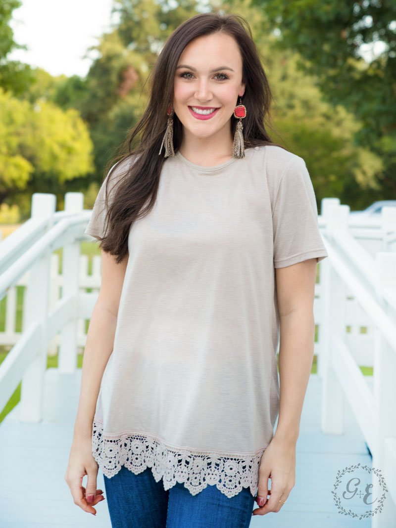 Running Back To You Tee with Crochet Lace Hem - Heathered Taupe