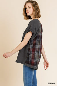 Short Sleeve Round Neck Top with Plaid Print Back and High Low Scoop Ruffle Hem - Ash