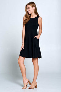 Sleeveless Solid Midi Dress with Side Pockets - Black