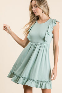 SOLID SLEEVELESS DRESS WITH RUFFLE SHOULDER & HEM