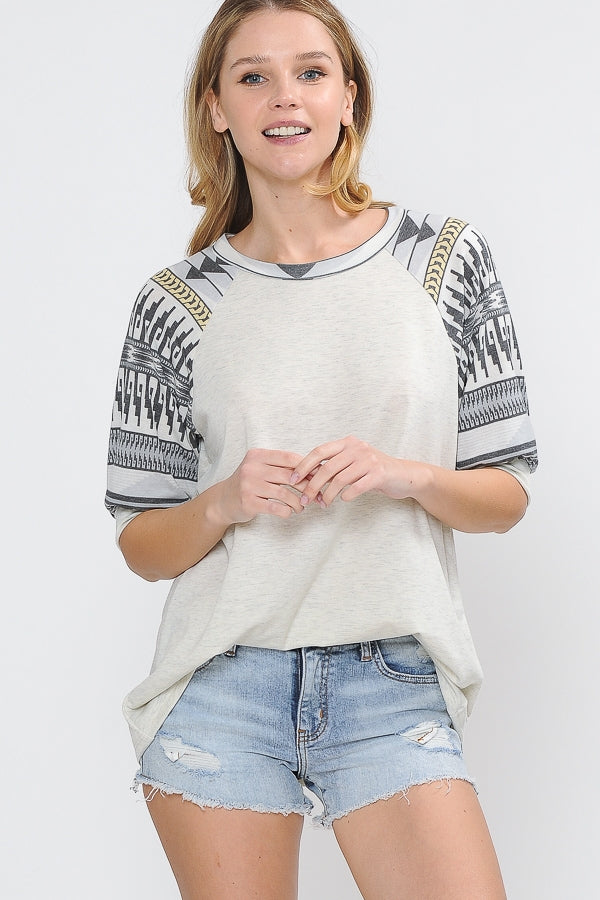 SOLID & TRIBAL PRINT CONTRAST BALLOON SLEEVE TOP