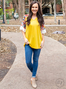 Shopping with the Girls Mustard V-Neck with White & Vibrant Floral Flutter