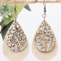 Leather Teardrop with Gold Glitter Accent, Copper - Beige/Gold