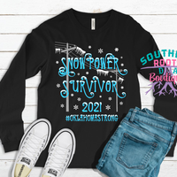 SnowPower Survivor 2021 - Long Sleeve Black Shirt - Limited Infant to Adult Sizes - TX, OK & LA States