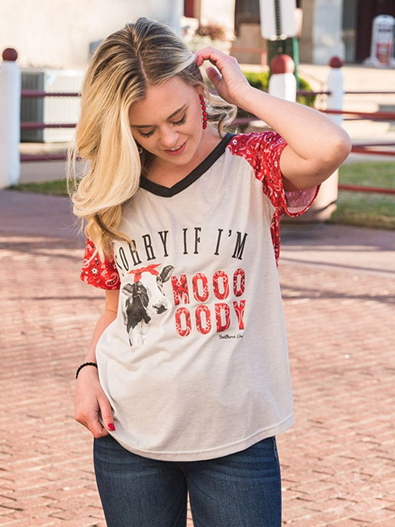 Sorry if I'm Moo-dy on Grey Tee with Bandana Print Sleeves & Back