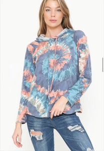 Long Sleeve Spiral Tie Dye Print Hooded Top