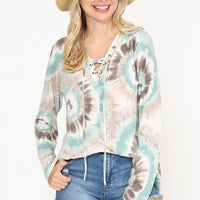 Spiral Tie Dye Print Lace up V-Neck Top