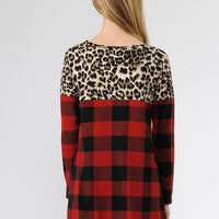 Checker & Leopard Print Contrast Tunic Top-Black/Red