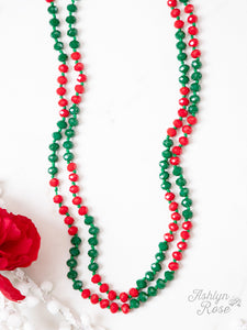 "The Essential 60"" Double Wrap Beaded Necklace, Deck the Halls 8mm"