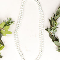 "The Essential 60"" Double Wrap Beaded Necklace, Shift 8MM - Iridescent White"
