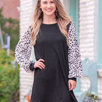 The Highlands Waffle Knit Dress, Black & Dalmatian