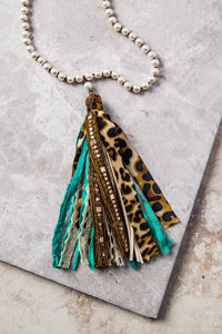 The Only One Leopard & Teal Tassel Necklace with Pearl Beading