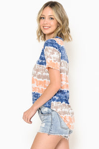 Tie Dye Color Block Choker V-Neck Top - Navy