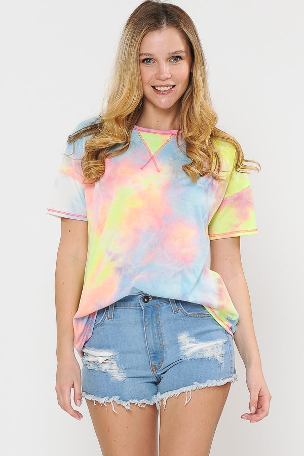 Tie Dye Short Sleeve Top with Reverse Stitch Detail