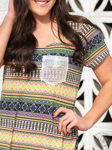 To the Tropics Bright Aztec T-Shirt Dress with Iridescent Sequin Pocket