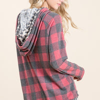 Plaid Print Double Hoodie Top with Zipper