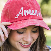 White Amen Embroidery on Bright Red Hat
