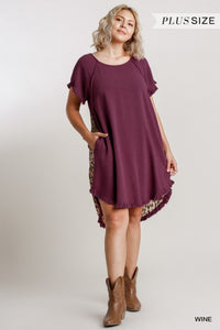 Short Sleeve Round Neck Animal Print Back Dress with High Low Fishtail Scoop Ruffle Hem - Wine