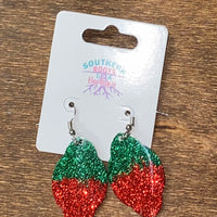 Sparkly Scallop Earrings - Discovery Green to Red Rivalry Ombre